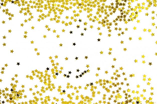 Grupo de feliz año nuevo de la decoración de la estrella del oro aislado en el fondo blanco