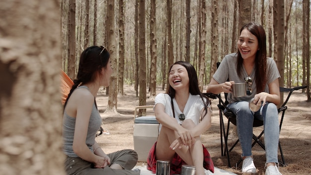 Grupo de jóvenes amigos asiáticos acampando o haciendo un picnic juntos en el bosque