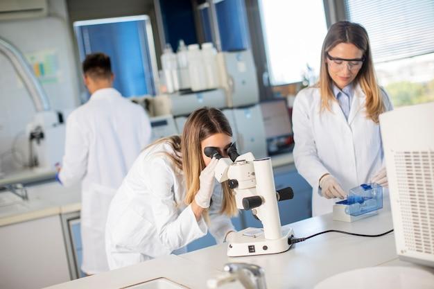 Grupo de jóvenes investigadores que analizan datos químicos en el laboratorio.