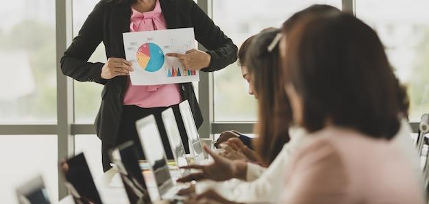 Grupo de mujeres empresarias reunidas en la oficina, líder o gerente sosteniendo un gráfico y una tabla mientras explican los detalles y el significado al público, los colegas la escuchan y expresan su comprensión.