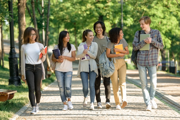 Grupo multiétnico de jóvenes estudiantes alegres caminando