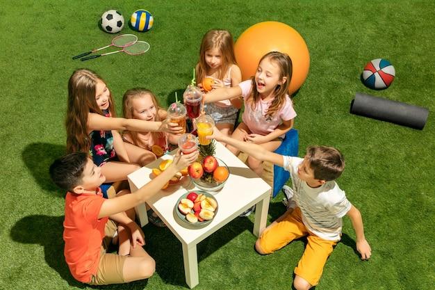 El grupo de niños y niñas adolescentes sentados sobre la hierba verde en el parque
