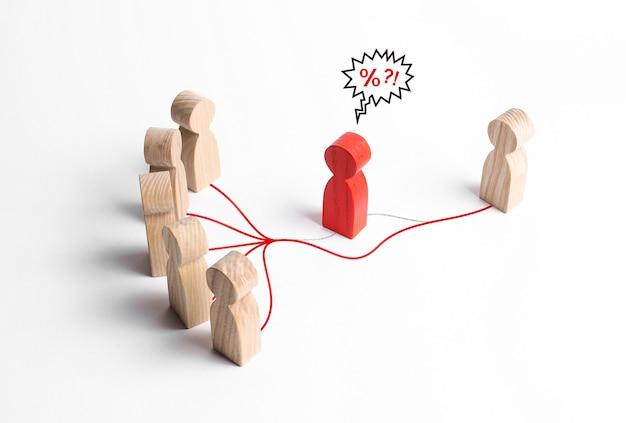 Un grupo de personas y un contacto de persona sin los costosos servicios de intermediarios mediadores.