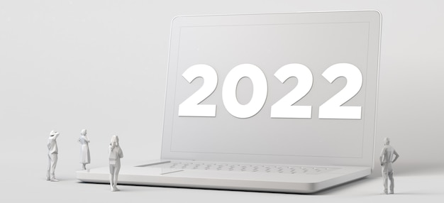 Grupo de personas mirando una computadora portátil gigante con el año nuevo 2022. ilustración 3d.