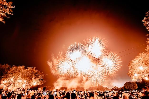 Grupo de personas viendo fuegos artificiales y usando teléfonos celulares para grabar eventos. personas que capturan un espectáculo de fuegos artificiales con su teléfono móvil. celebración de fuegos artificiales coloridos y el fondo del cielo nocturno