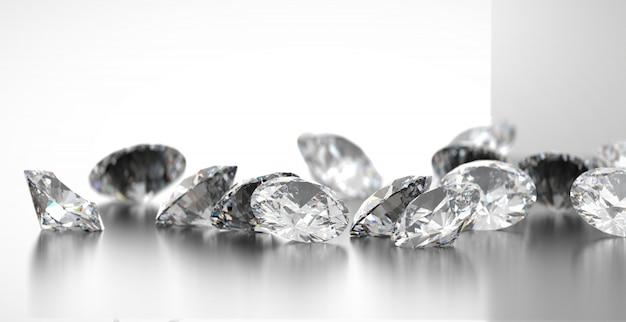 Grupo redondo de los diamantes colocado en el fondo brillante, representación 3d, foco suave.