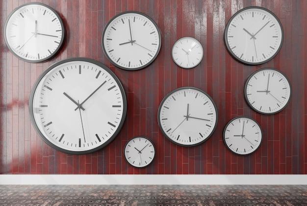 Grupo de relojes de pared en una pared de madera