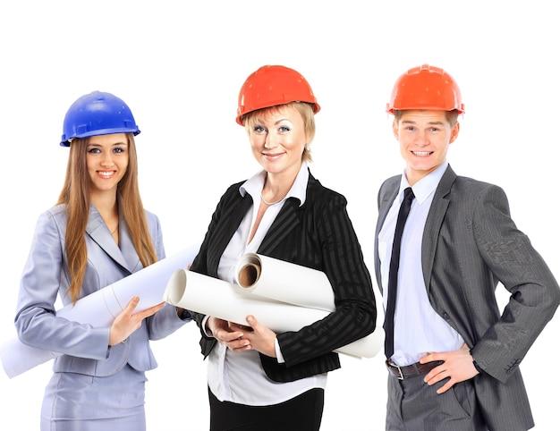 Grupo de trabajadores de la construcción. aislado sobre fondo blanco. Foto Premium