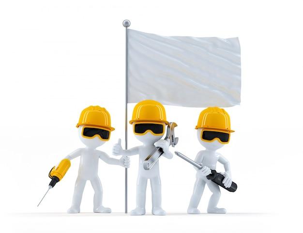 Grupo de trabajadores de la construcción con la bandera