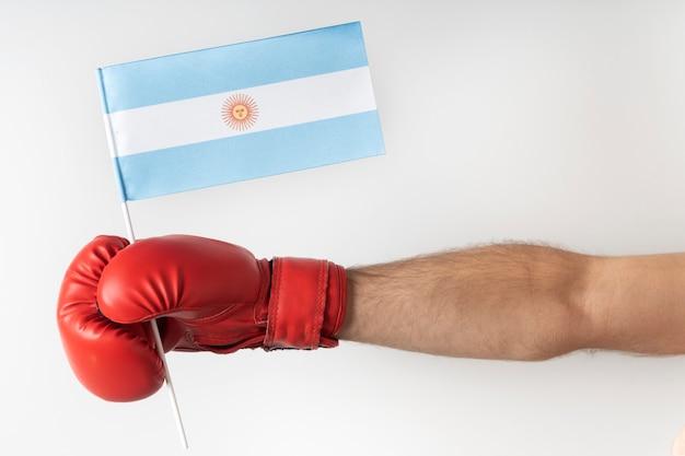 Guante de boxeo con bandera argentina