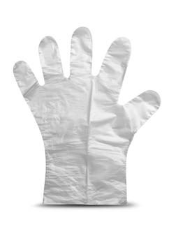 Guante de plástico sobre fondo blanco.