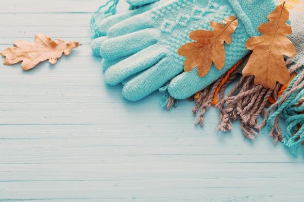 Guantes azules y hojas de otoño sobre fondo de madera