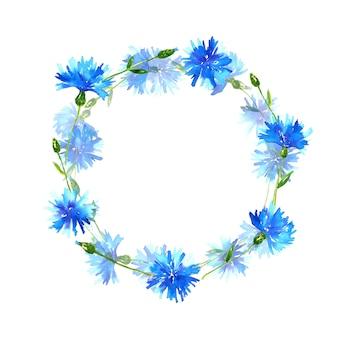 Guirnalda con acianos. marco redondo con hermosas flores azules. ilustración acuarela dibujada a mano. aislado.