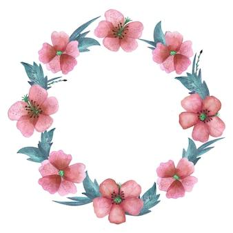 Guirnalda de acuarela con elementos de flores rosas y hojas verdes