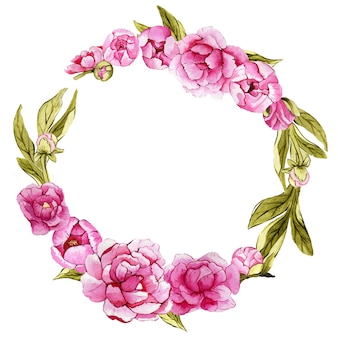 Guirnalda de acuarela floral con peonías