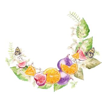 Guirnalda de acuarela con hojas y frutos, higos y naranjas