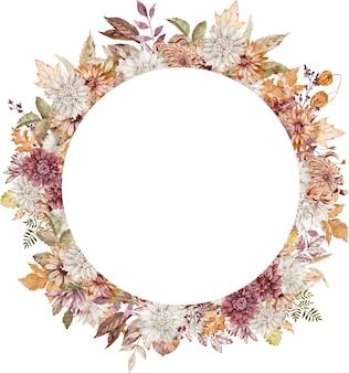 Guirnalda de áster carmesí, blanco y naranja acuarela. marco de círculo de flores de otoño. plantilla de otoño aislada sobre fondo blanco.