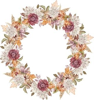 Guirnalda de áster carmesí, blanco y naranja acuarela. marco de círculo de flores de otoño. plantilla de otoño.