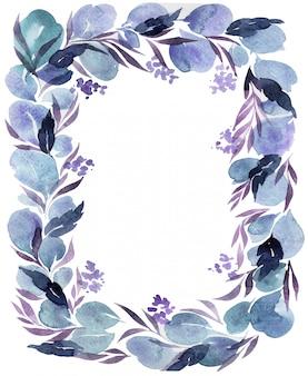Guirnalda de flores acuarela aislado sobre fondo blanco.