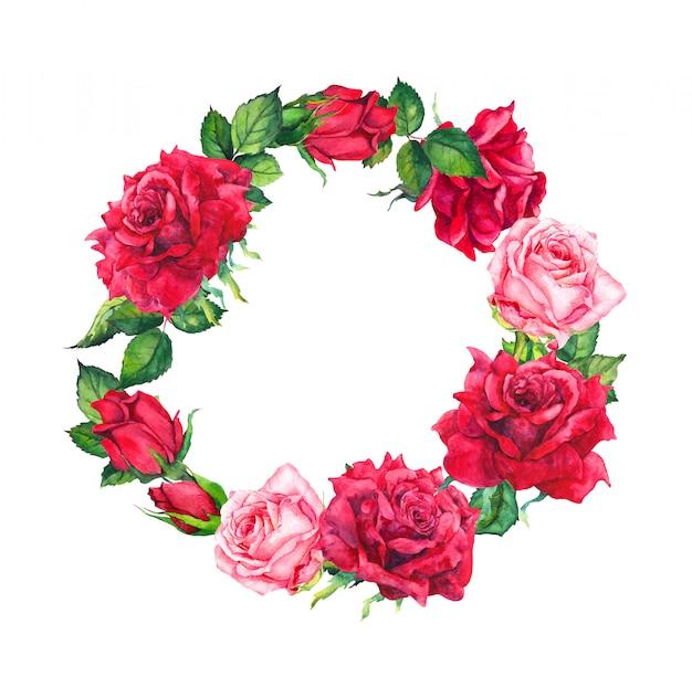 Guirnalda de flores rosas rojas y rosadas. borde redondo floral. acuarela para el día de san valentín, boda, guardar la tarjeta de fecha
