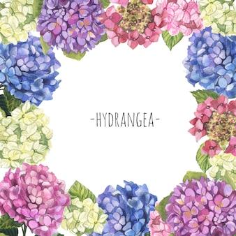 Guirnalda de marco de hortensia blanco, verde, rosa y azul acuarela