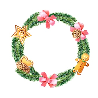 Guirnalda de navidad acuarela con árbol verde, lazo rosa, pino, hombre de jengibre, corazón, estrella.