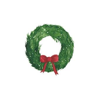 Guirnalda de navidad dibujada a mano acuarela con imágenes prediseñadas de lazo rojo. decoración de año nuevo aislado sobre fondo blanco. elemento de diseño de vacaciones de invierno para tarjetas, invitaciones, saludos, carteles, álbumes de recortes.