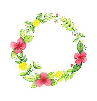 Guirnalda redonda floral acuarela o marco sobre fondo blanco.