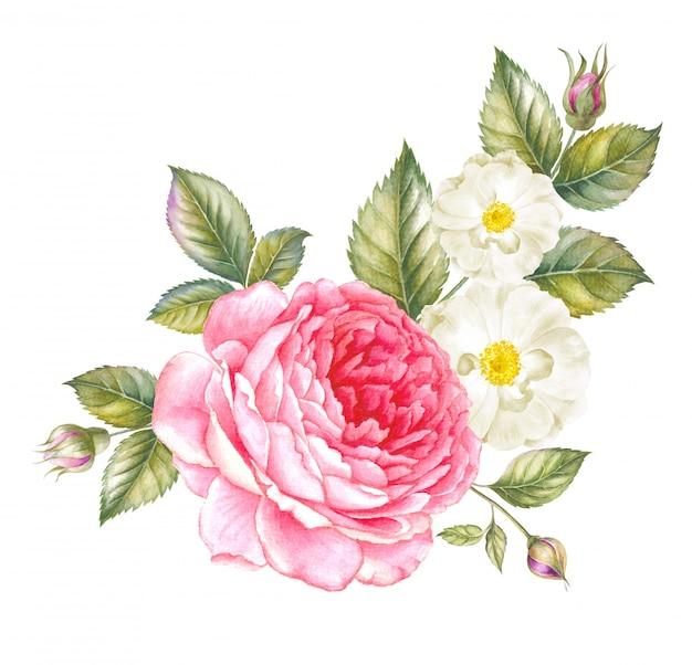Guirnalda rosa roja acuarela para plantilla de tarjeta de invitación
