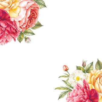 Guirnalda vintage de fondo de marco de flores florecientes