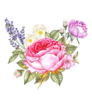 Guirnalda vintage de rosas florecientes.