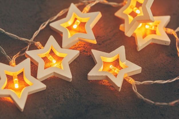 Guirnaldas de luz en forma de estrella, decoración festiva para navidad