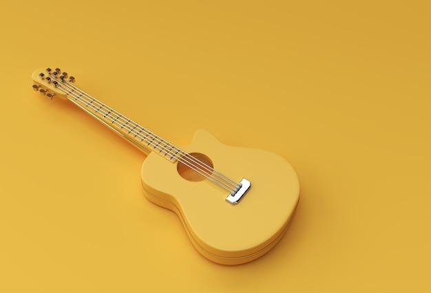 Guitarra acústica de renderizado 3d sobre fondo amarillo diseño de ilustración 3d.