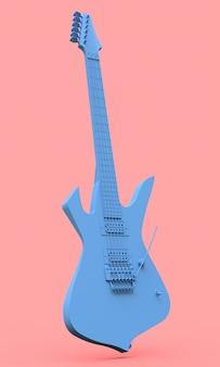 Guitarra eléctrica azul al estilo minimalista sobre un fondo rosa