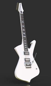 Guitarra eléctrica elegante blanca sobre negro