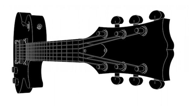 Guitarra eléctrica negra con líneas grises.