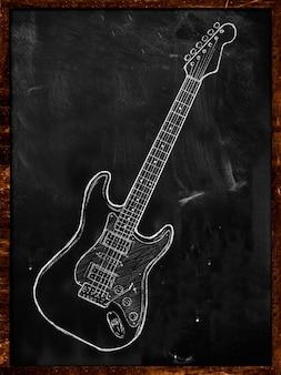 Guitarra eléctrica que dibuja en la música de la pizarra