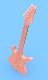 Guitarra eléctrica rosa al estilo minimalista sobre un fondo azul. representación 3d.