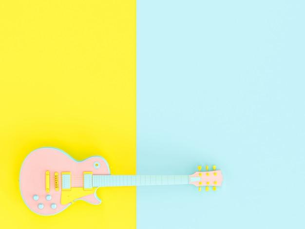Guitarra electrica en superficie con dos tonos.