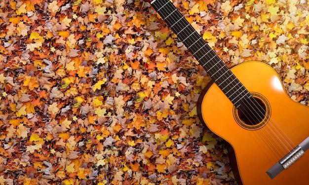 Guitarra de la representación 3d en el jardín del otoño del vintage