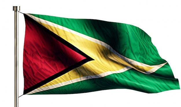 Guyana bandera nacional aislado fondo blanco 3d