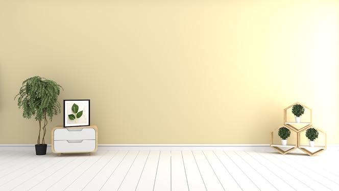 Habitación amarilla - hermosa habitación, habitación vacía, interior luminoso moderno. representación 3d