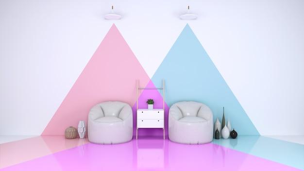 Habitacion azul y rosa