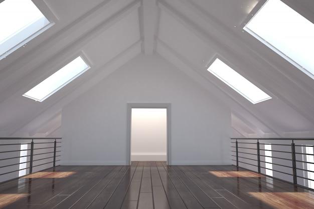 Habitación blanca con claraboyas