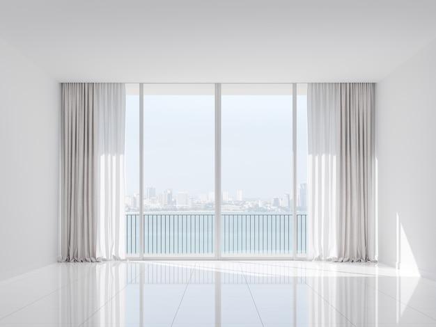 Habitación blanca vacía con vista a la ciudad