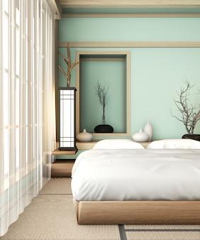 Habitación de cama azul claro ryokan de estilo muy japonés con piso de tatami y decoración. renderizado 3d