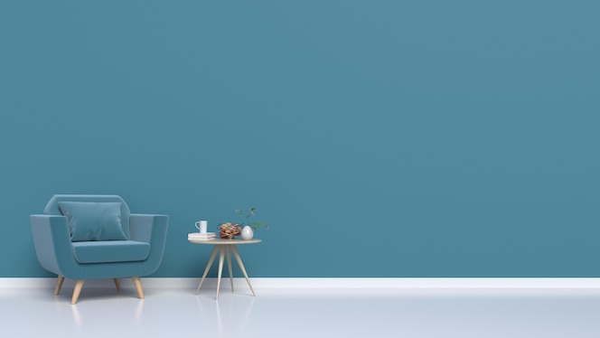 Habitación con sillones a la pared oscura, renderizado 3d