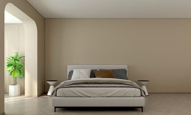 Habitación y dormitorio de diseño interior moderno y pared vacía