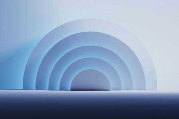Habitación espacial con formas de medio círculo iluminadas por un suave azul neón.