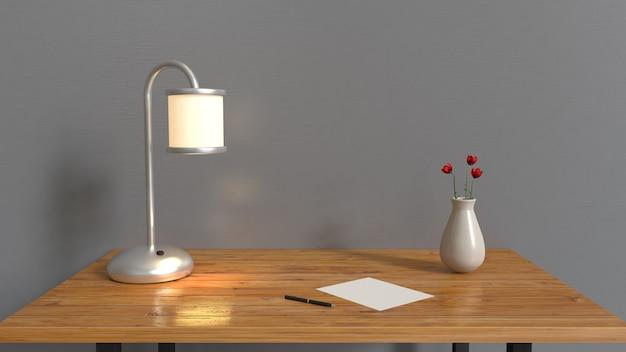 Habitación gris y mesa de madera, jarrón de papel en blanco de la lámpara con flor roja en interiores de mesa representación 3d